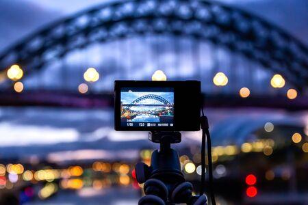 Tyne Bridge, Newcastle at dawn captured on the back screen of a camera on tripod