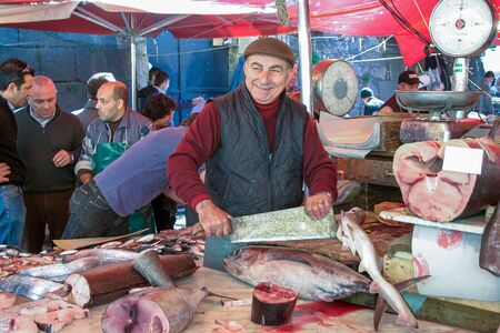 Sicily, Italy - April 05 2007: Traditional fish and seafood street market in Sicily, Italy