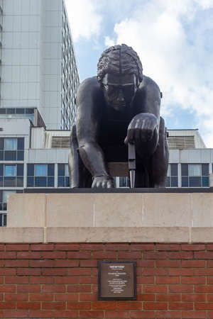 London, United Kingdom, October 18 2019 - Newton, After William Blake on the concourse of the British Library, London - a 1995 Sir Eduardo Paolozzi bronze sculpture of Sir Isaac Newton, based on a William Blake print called Newton