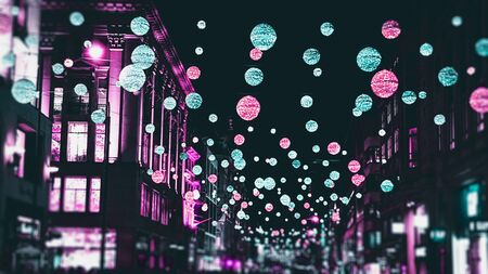 London festive Christmas street lights and decorations in cyberpunk colours