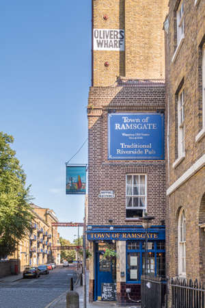 London, England - August 01 2018: Historic Town of Ramsgate pub, Wapping, London