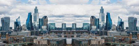 Horizontal mirror effect of London, UK city skyline and skyscrapers