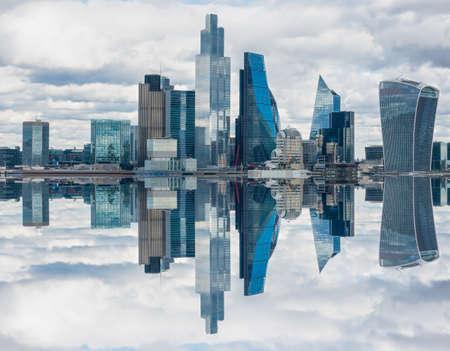 Vertical mirror effect of London, UK city skyline and skyscrapers Reklamní fotografie