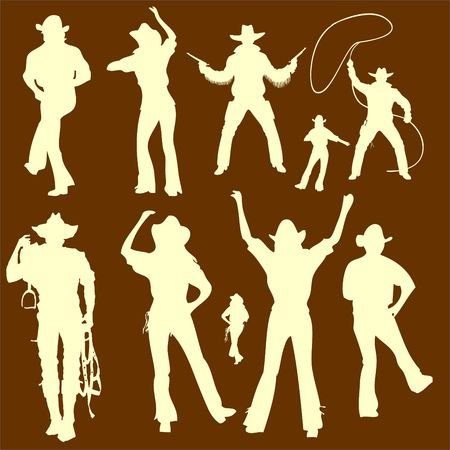 Cowboys Vector Digital Clipart  2 Vector