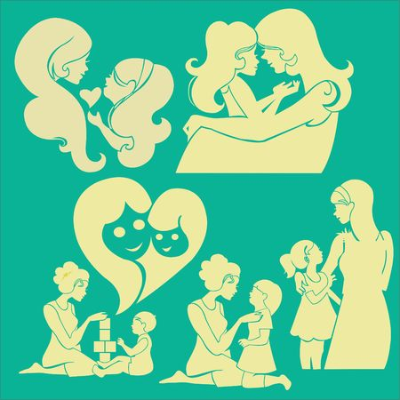 forehead: Happy Mother Vector Digital Clipart 2