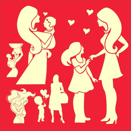 two generation family: Happy Mother Vector Digital Clipart Illustration
