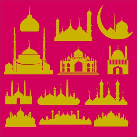 namaz: Mosque Vector Digital Clipart 2 Illustration