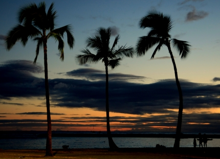 Sunset on Hawaiian Beach,Hawaiian   photo