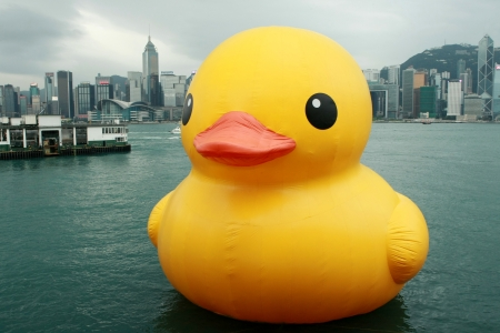 rubber ducky: Rubber Duck with Hong Kong seaview Editorial