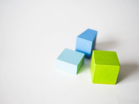 colored children's cubes lie on a white background Stok Fotoğraf - 131659312