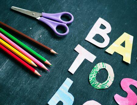 the writing paper back to school on chalk blackboard background Stok Fotoğraf - 131658818