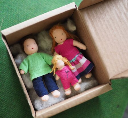 little rag Waldorf doll in a box