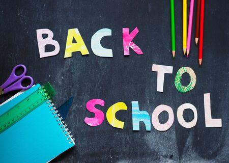 the writing paper back to school on chalk blackboard background Stok Fotoğraf