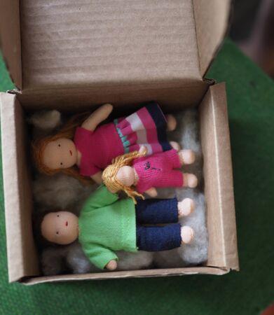 little rag Waldorf doll in a box