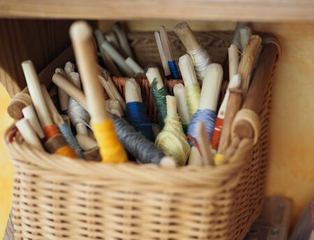 wound multicolored thread for needlework in eco-friendly natural style Фото со стока