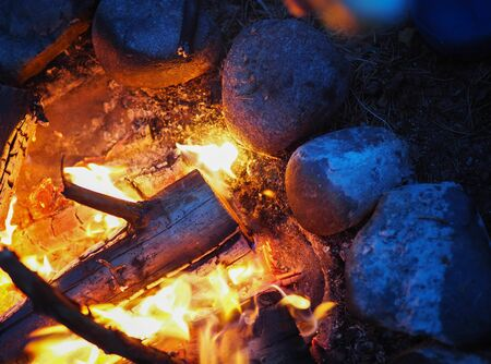 tourist lit a fire at night and fried marshmallow