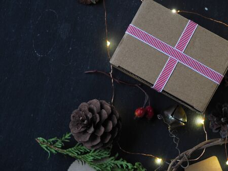 background layout Christmas in a rustic eco natural style Banco de Imagens