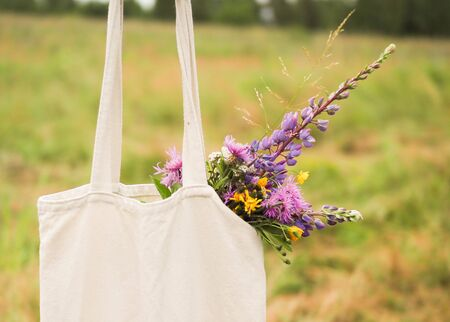 young beautiful girl holding a bag with wildflowers Standard-Bild