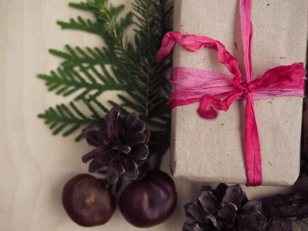 background Christmas flat lay natural eco style