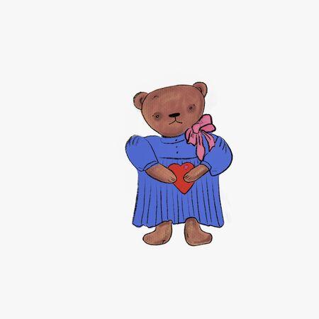 cute Teddy bear holding a heart illustration