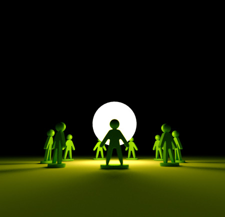 group therapy: Ring around light green sphere Stock Photo