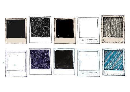 objetos cuadrados: Dibujo del vintage marco de la foto del vector Vectores