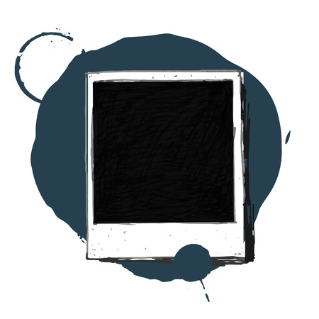 poloroid: Vintage drawing photo frame vector Illustration