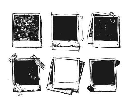 photo camera: Vintage drawing photo frame vector Illustration