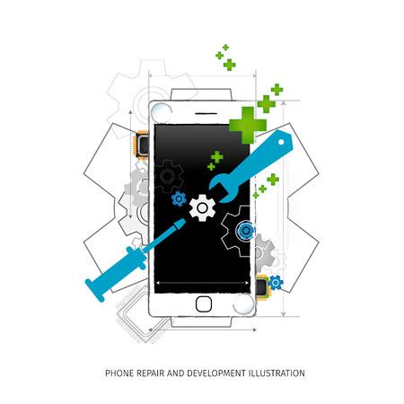 Reparación móvil e ilustración desarrollo