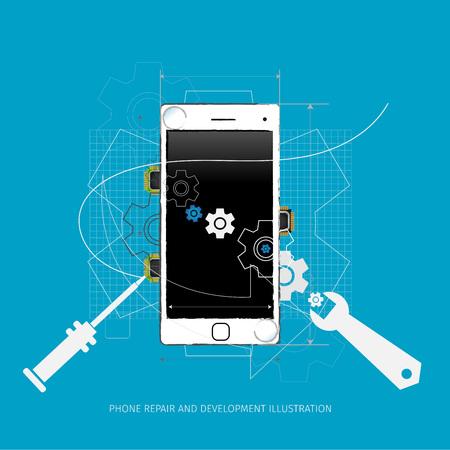 Handy-Reparatur und Entwicklung illustration Vektorgrafik