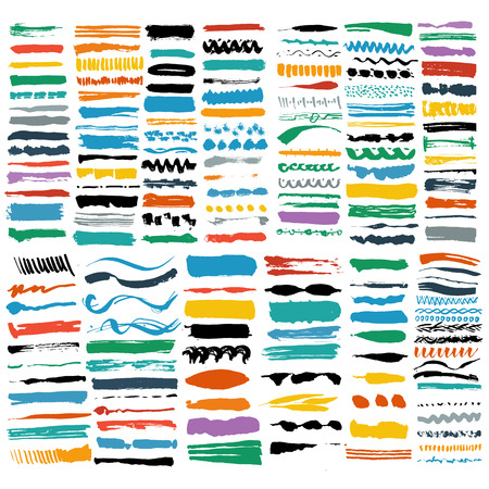vector brush stroke collection set