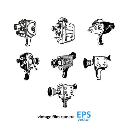 Vintage dessin de la caméra vidéo sur un fond blanc illustration