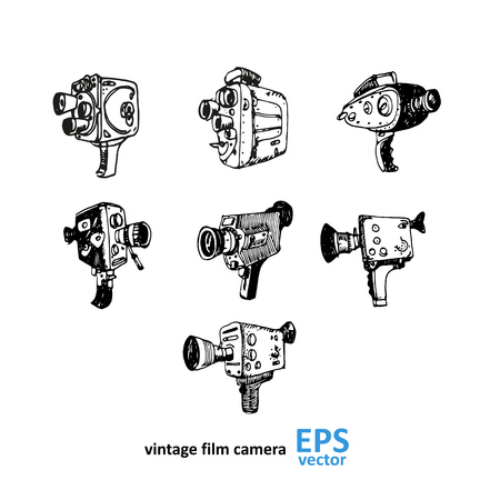 Vintage video camera drawing on a white background illustration