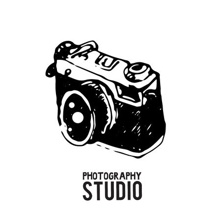 Camera photography studio vector illustration.
