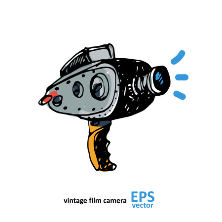 video camera: Vintage video camera drawing on a white background illustration Illustration