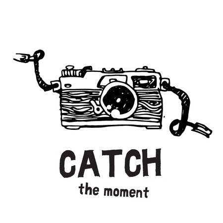 'catch the moment': Camera photography studio vector illustration.