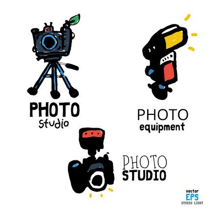 Set of photo studio equipment vector illustration