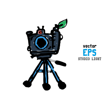 strobe light: Set of photo studio equipment vector illustration Illustration
