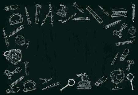 office accessories: School and office accessories vector template. Pictures set Illustration