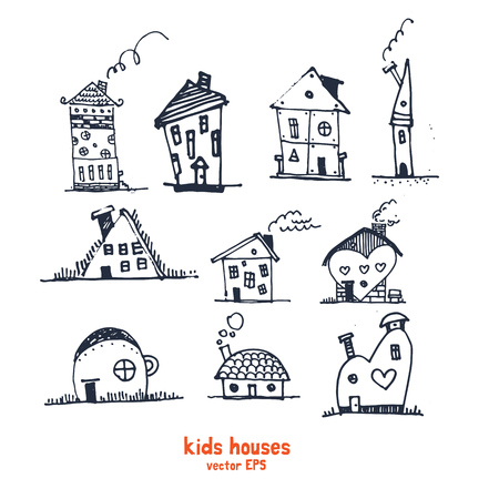 maturity: Kids style houses illustration vector picture. Picture set