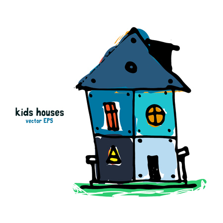 Kids style houses illustration vector picture. Vektorové ilustrace