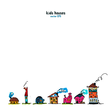 Kids style houses illustration vector picture. Picture set