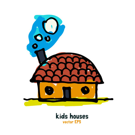 maturity: Kids style houses illustration vector picture. Illustration