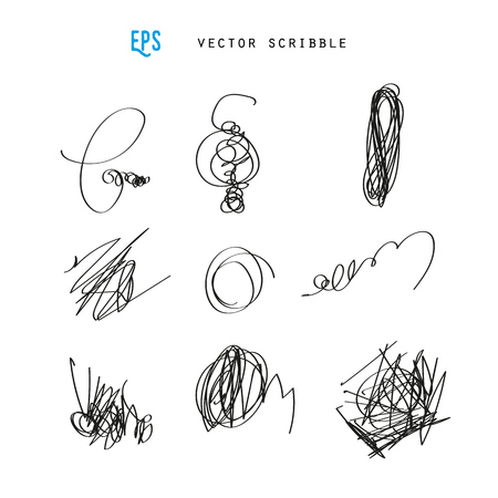 Set of vector scribbles. Sketchy drawings. Design elements illustration. May use as brush.