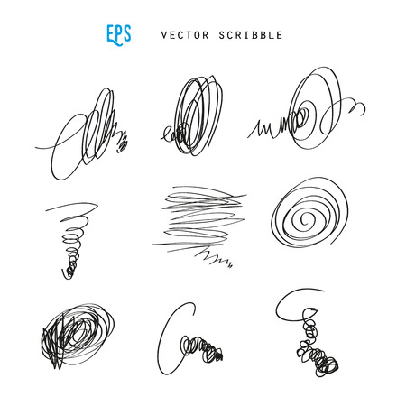 scribbles: Set of vector scribbles. Sketchy drawings. Design elements illustration. May use as brush.