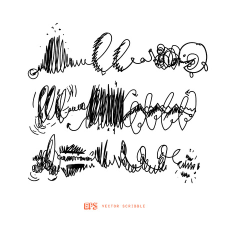 Scribble line design art elements. May use as brush. 向量圖像