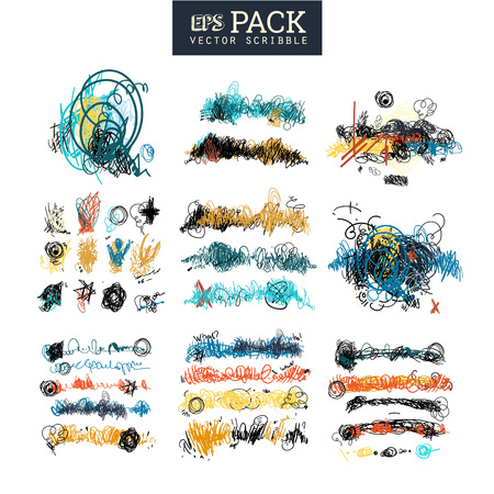 Pack of scribble art elements. You can use it as brush 版權商用圖片 - 71245336