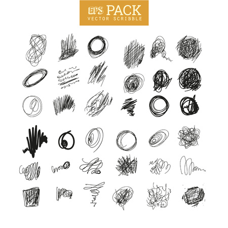 Pack of scribble art elements. You can use it as brush Иллюстрация