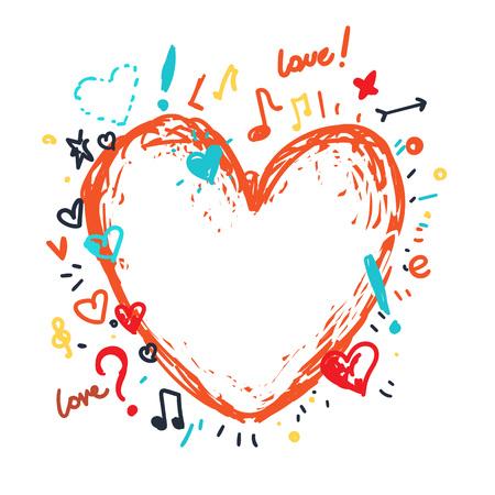 Heart vector drawing pretty art.
