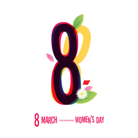8 March Women's Day greeting card illustration 版權商用圖片 - 72003224